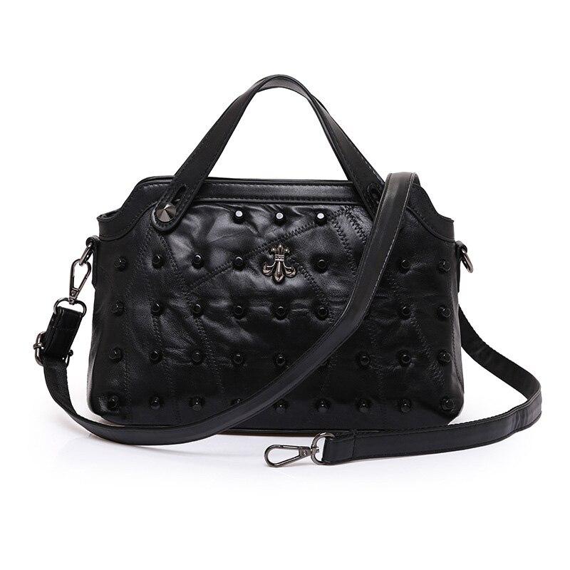 Genuine Leather Bag Sheepskin Boston Crossbody Handbag Women Rivet Luxury Female Shoulder Bag Travel Top Hand Black Tote Remache