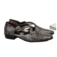 цены  Men Vintage Genuine Leather Pointed Toe Snakeskin Sandals Casual Roman Buckle Strap Sandals Summer Shoes