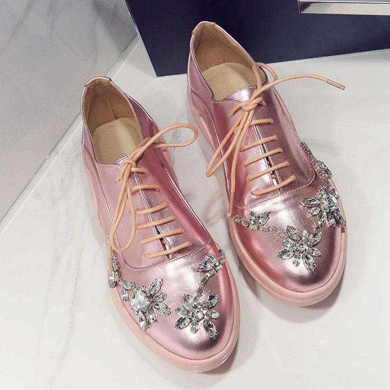 Oxford Shoes For Women 2016 Women Flats Genuine Leather Woman Shoes  Rhinestones Footwear Designer Oxfords Ladies Flats-in Women s Flats from  Shoes on ... 6dc78b413f00