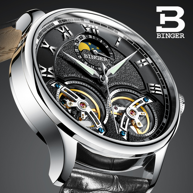 Double Tourbillon Switzerland BINGER Original Mens Automatic Self Wind Fashion Men Mechanical Wristwatch Black Leather Band