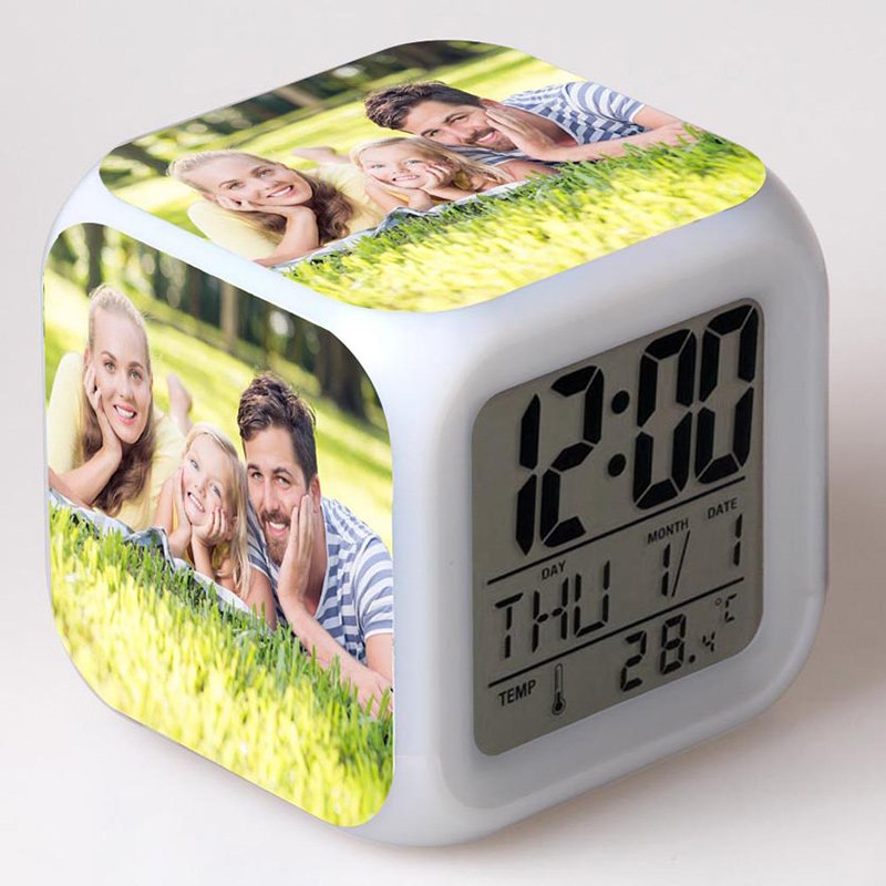 Custom stickers for Family LED Colorful Flash Touch Night Light Alarm Clock Custom-made family Photo Toys for Kids gift wake up night light alarm clock sunrise simulation dusk fading night light with nature sounds fm radio touch control usb charger