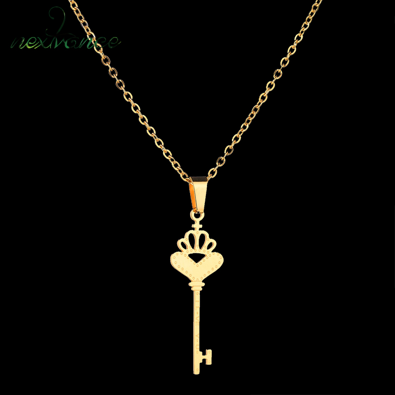Chain Necklaces Jewelry & Accessories Sweet-Tempered Nextvance 316l Stainless Steel Crown Key Gold Necklace & Pendant Hollow Love Heart Choker Necklaces For Girlfriend Gift