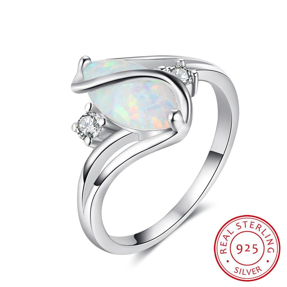 Aufstrebend Weiß Feuer Opal 925 Sterling Silber Frauen Mode Opal Ring