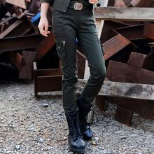 2017 new spring  women fashion  camouflage military green stretch plus size patchwork cargo pants