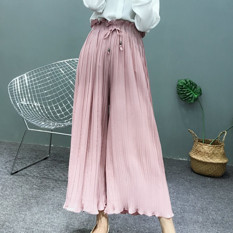 2019 Summer Women   Wide     Leg     Pants   Loose Casual High Waist Chiffon Trousers Fashion Pleated   Pants
