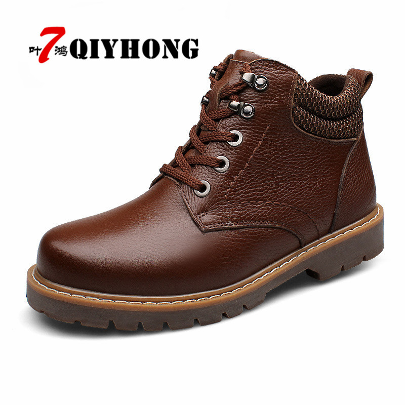 QIYHONG Brand Fashion Men Boots Plus Velvet Genuine Leather Quality Brand Snow Winter Boots Autumn Ankle Men Boots Big Size38-48 [krusdan]british style men autumn winter boots solid casual genuine leather retro boots falts brand red wine male ankle boot