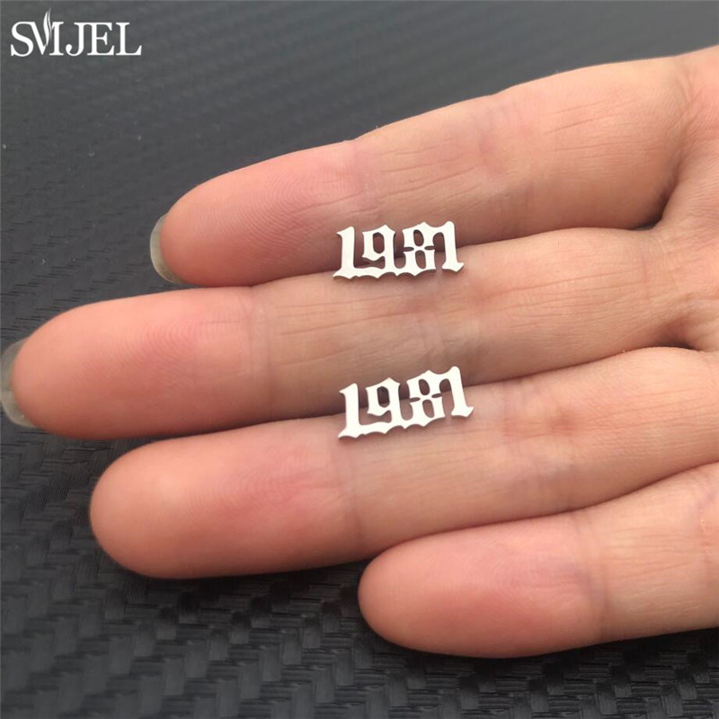 SMJEL Personalized Year Number Stud Earrings for Women Stainless Steel Ear Jewelry Custom Year 1980 1998 2004 2011 Birthday Gift in Stud Earrings from Jewelry Accessories