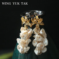 wing yuk tak Baroque Tassel Cultured Pearl Earrings For Women Gold Color Flower Drop Earrings Party Jewelry Christmas Gift