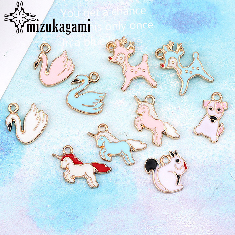 2018 New 10pcs/lot Gold Zinc Alloy Animal Dog Goose Deer Drop Oil Charms Pendant For Elegant Jewelry Accessories