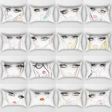Hot sale cartoon pretty ladies pattern men women rectangle  pillow case home cover 50*30cm
