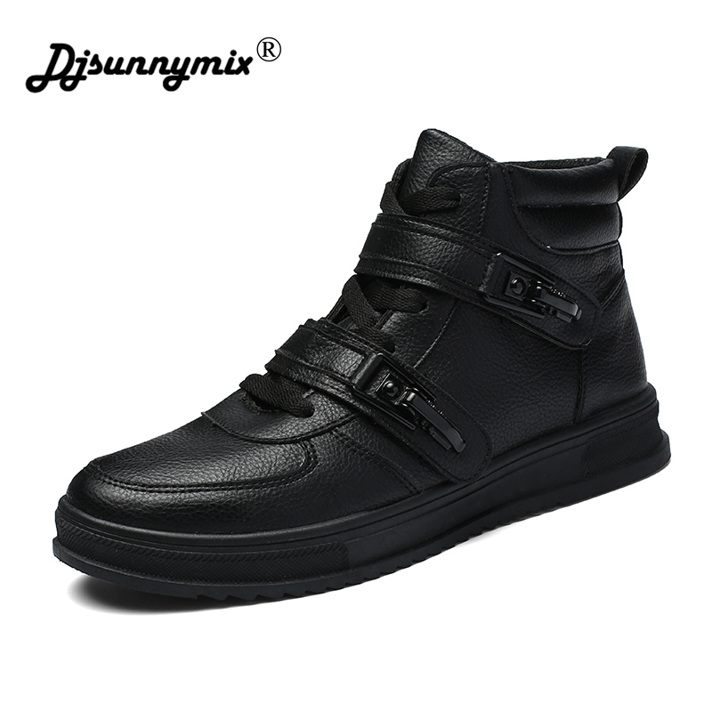 DJSUNNYMIX Mens Shoes Casual Flat Sneakers Mens Shoes Casual Footwear Black White High Top Sneakers for Men Walking Shoes fashion pleated leather mens casual shoes spring autumn new high top men shoes ankle mens sneakers zipper casual footwear