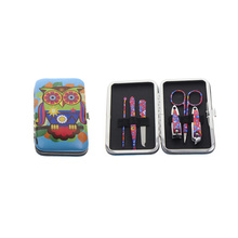 6Pcs/Set Flower Printed Professional Owl Manicure Pedicure Set Nail Care Set Kit