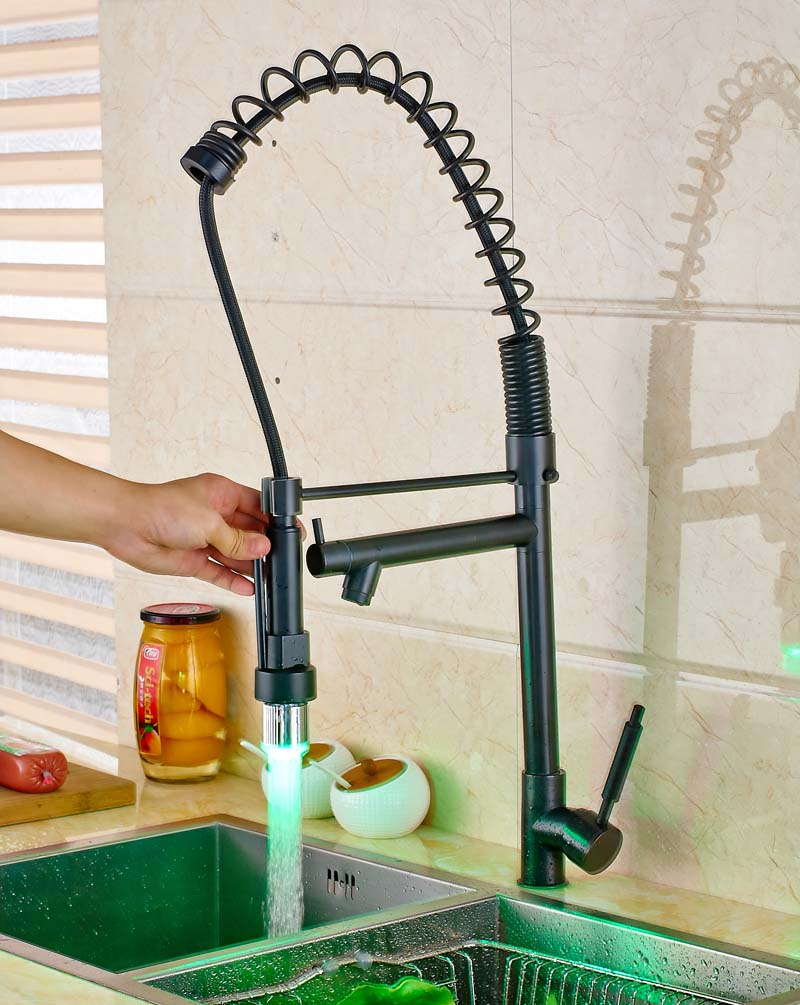Luxury Oil Rubbed Bronze Deck Mounted Kitchen Sink Faucet LED Swivel Spout Pull Out Spring Mixer