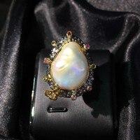 925 чистого серебра ручной работы ремесел дизайн Италия из натурального барочного жемчуга кольцо турмалин