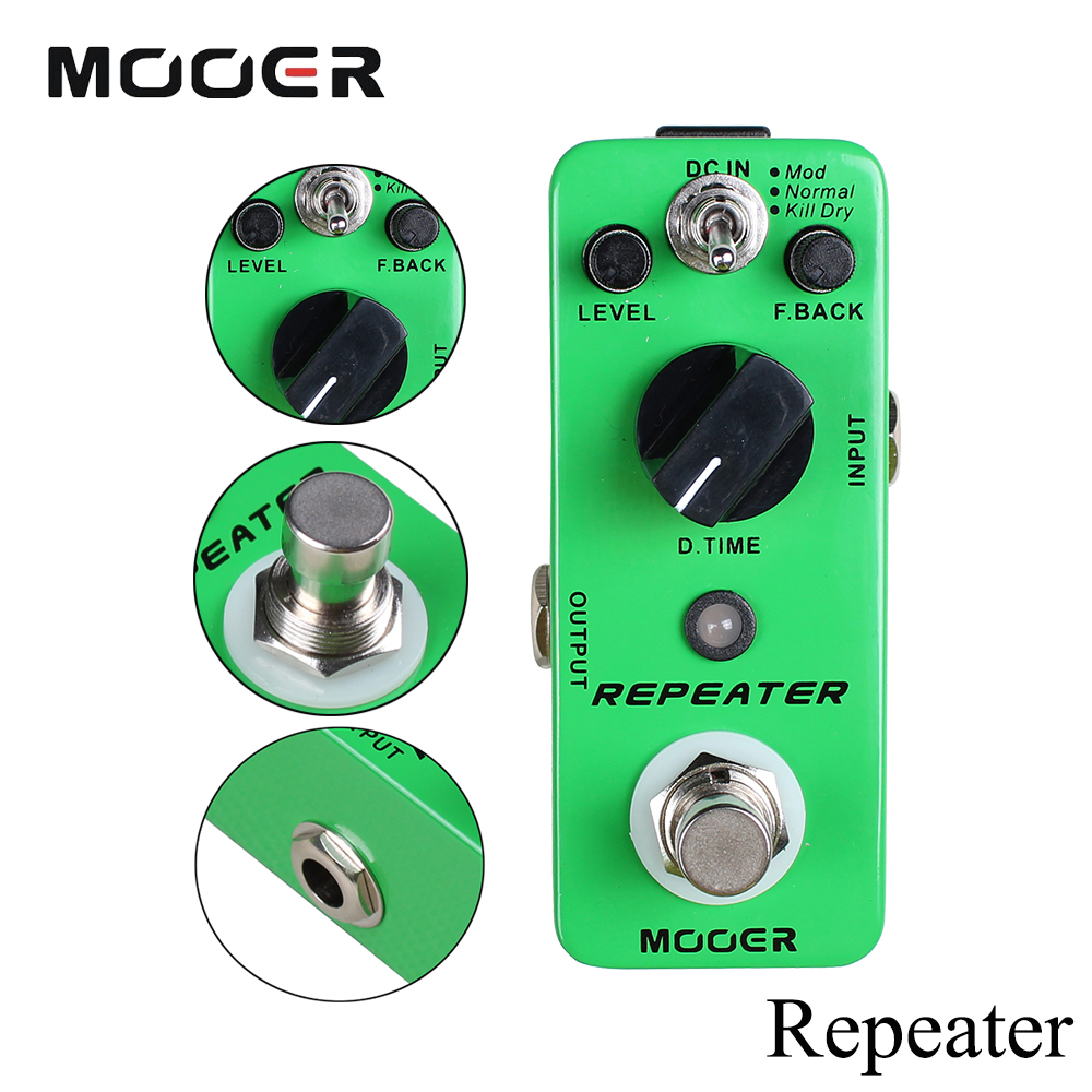 Mooer Repeater Full Metal Shell Guitarra Digital Delay Effect Pedal With Mod/Normal/Kill Dry 3 Working Modes new effect pedal mooer solo distortion pedal full metal shell true bypass