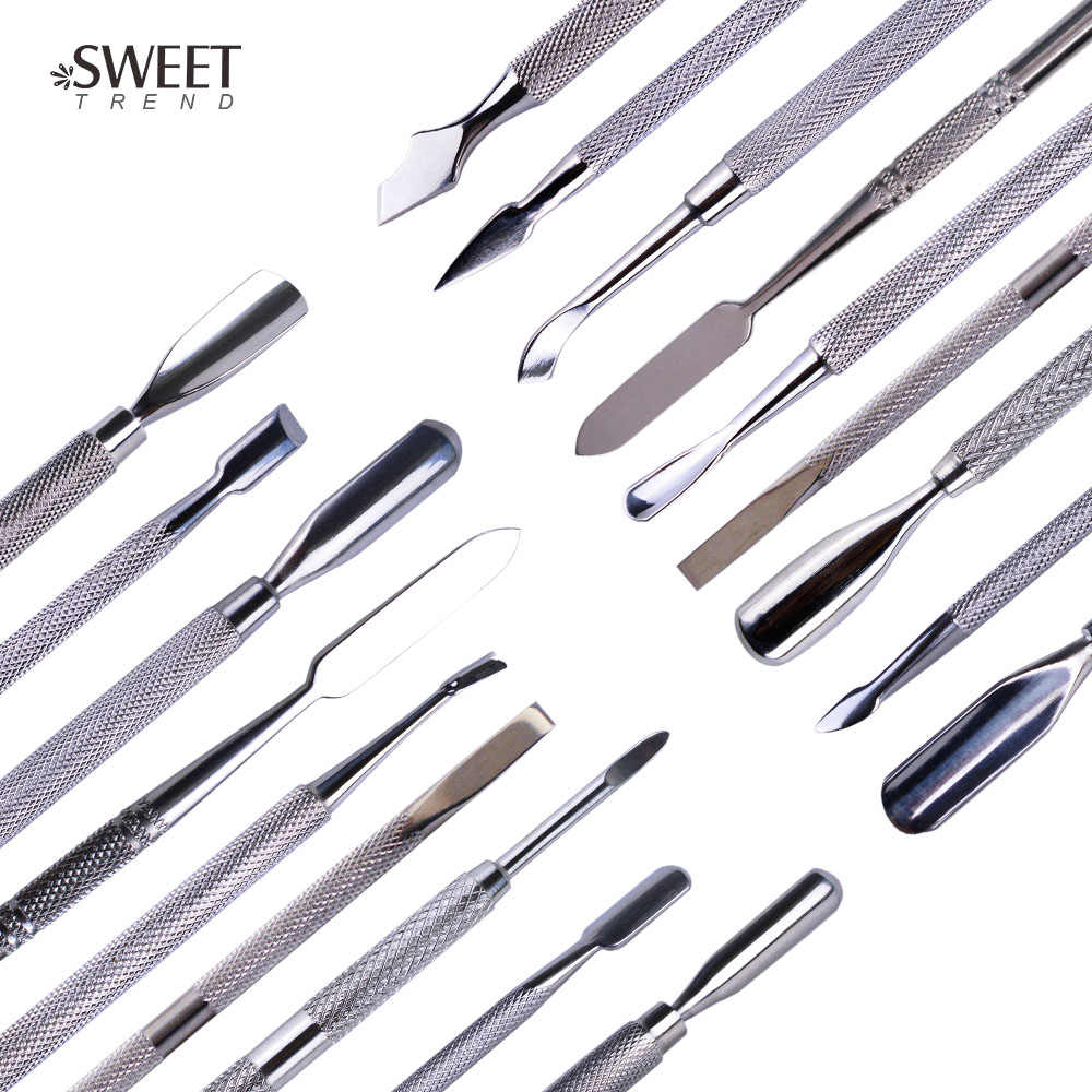 1pc Rvs Nail Art Dubbelzijdig Cuticle Vinger Dode Huid Gesneden Remover Pusher Manicure Pedicure Nail Care Tools LA1-9