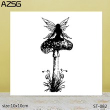 AZSG Pretty Fairy / Angel Mushroom Clear Stamps/Seals For DIY Scrapbooking/Card Making/Album Decorative Silicone Stamp Crafts