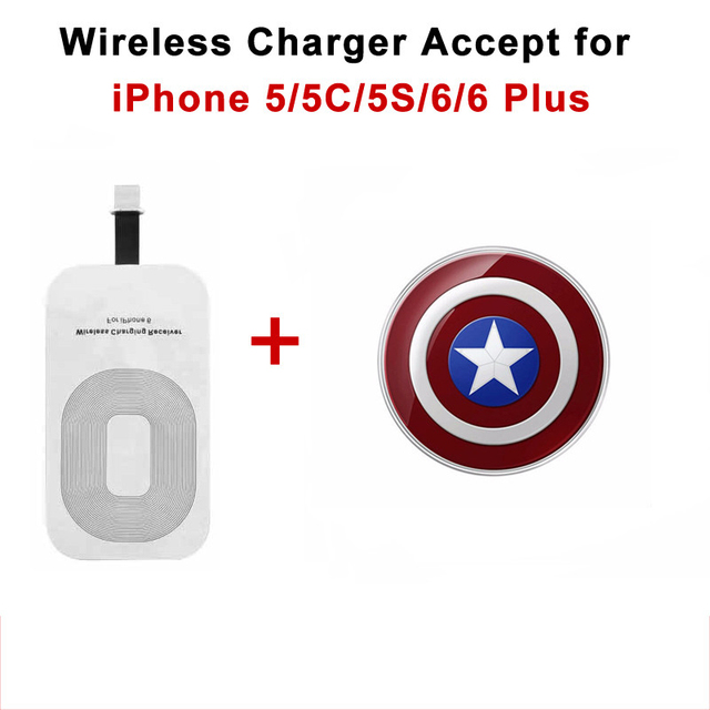 Wireless Charging Receiver + Qi Wireless Charger Adapter for Iphon Iphone 5 5s 6 6s Plus Pad Cargador Inalambrico Caricatore Usb