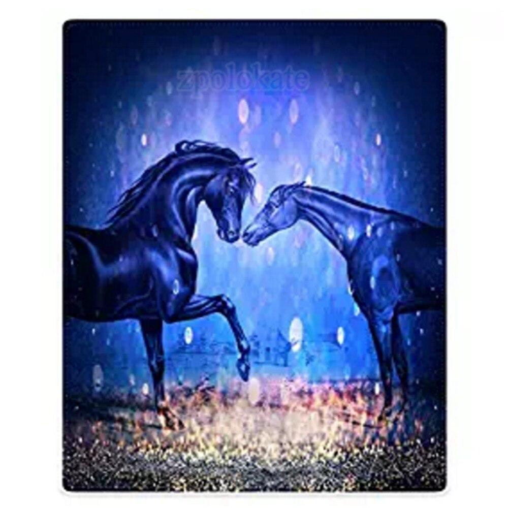 Flanellen Deken Gooi Lichtgewicht Gezellige Pluche Microfiber Twee Paarden Halo