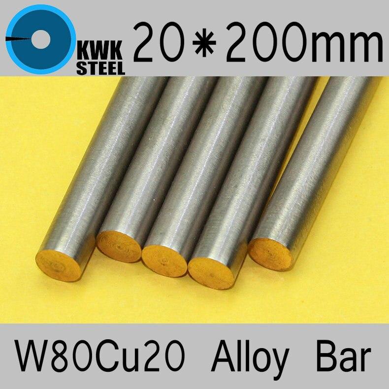 Liga de Cobre do Tungstênio Material de Embalagem Spot Welding Eletrodo Certificado Iso Frete Grátis 20*200mm Bar W80cu20 W80