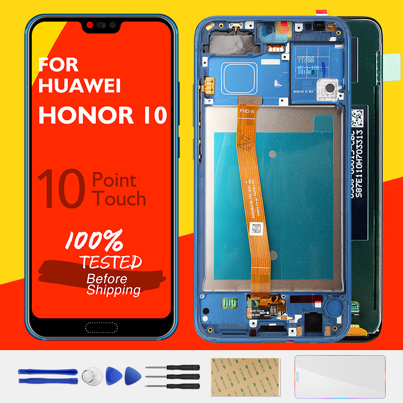 Original Huawei Honor 10 LCD Display with Fingerprint ID Touch Screen Panel Honor10 LCD Digitizer Replacement