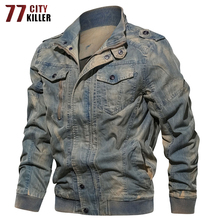 77City Killer Army Military Denim Jacket Men Vintage Bomber