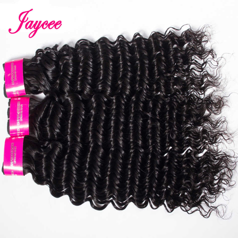 Paquetes de pelo Humano rizado profundo de Jaycee 3 paquetes de cabello brasileño 8-26 pulgadas Cabelo Humano 100% negro Natural color