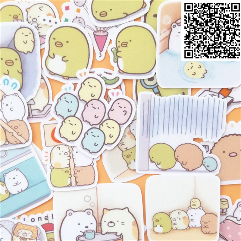 New Trendy Cartoon Microorganis Stickers Toy For DIY Exercise Book Diary 30 Sheets A Pack Toys For Children Colorful Toy Sticker