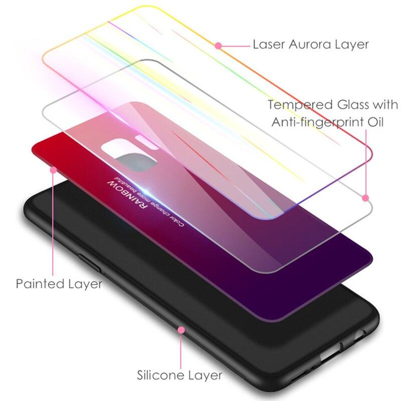 Samsung S9 Case S9 Plus rəngsiz 9H Temperli Şüşə Aurora Gradient - Cib telefonu aksesuarları və hissələri - Fotoqrafiya 2
