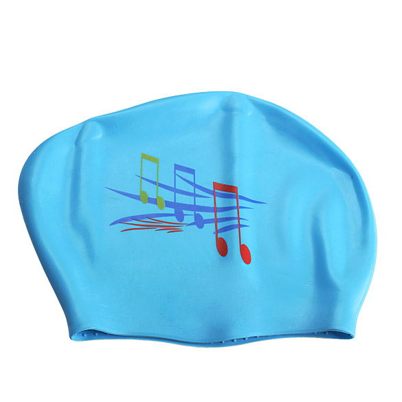 New Note Silicone Swimming Long Hair Cap Ear Wrap Waterproof Hat Sky Blue B2C Shop