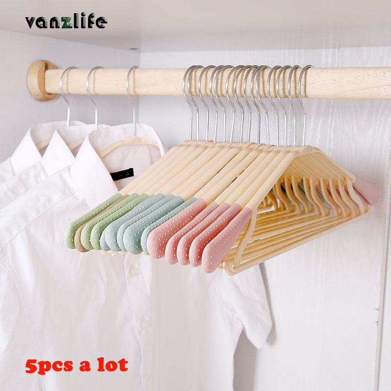 5pcs/vanzlife clothes rack adult wide shoulders no trace hanger skid proof multi-functional plastic rack wardrobe support.
