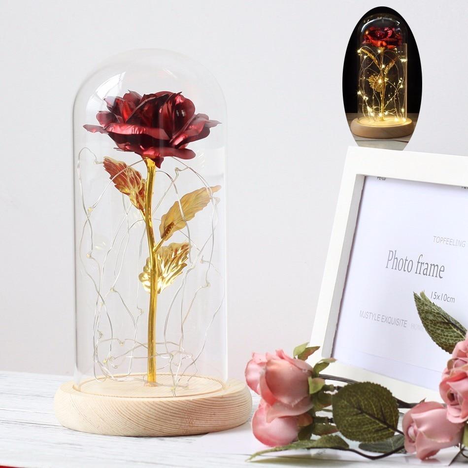 San Valentín Día de la Madre Día de lámina de oro rosa con amor Stand rosas artificiales flores decoración del hogar cumpleaños regalo