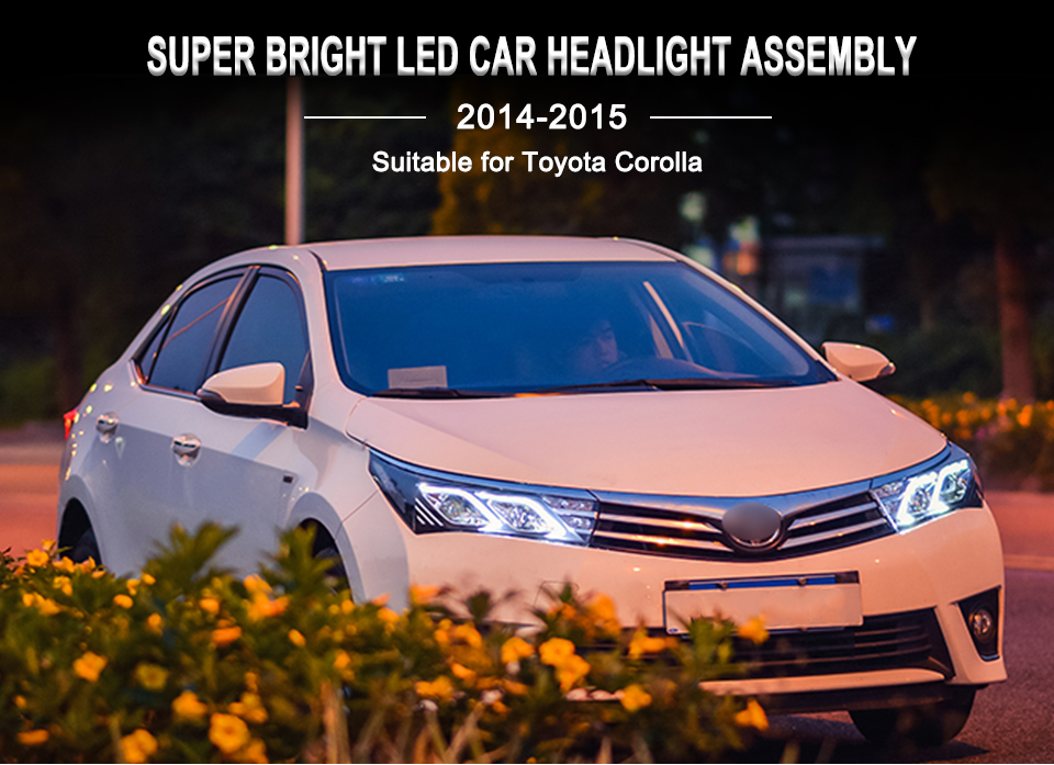 AcooSun LED Car Headlight Assembly For Toyota Corolla 2014 2015 DRL Turn Signal Lights Projector Lens Plug and Play Head Light (1)