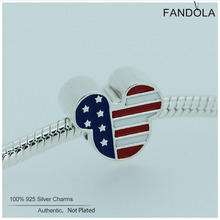Fandola Mixed Enamel Charms  925 Sterling Silver Mouse USA Flag Beads for Jewelry Making Fits Women Diy Jewellery Bracelets