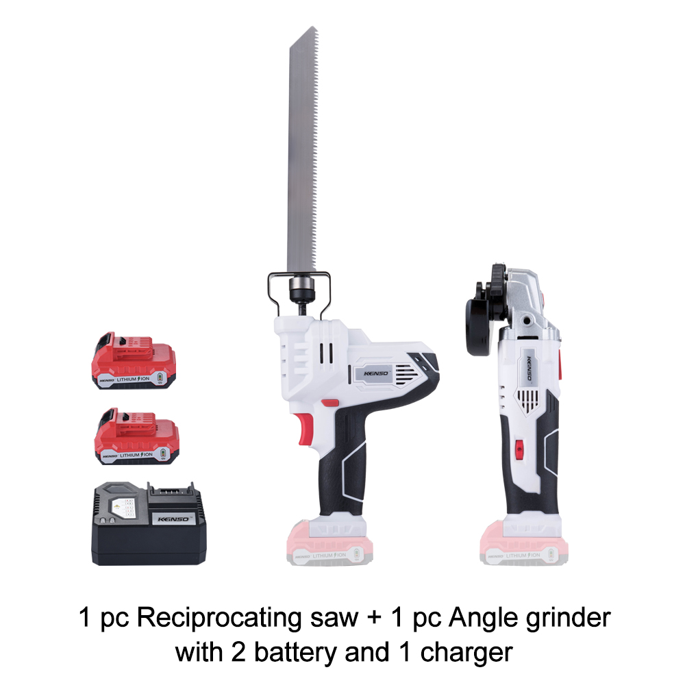 NEWONE 12V Hand Reciprocating Saw and Power Angle Grinder set Ideal for DIY Cutting Wood or