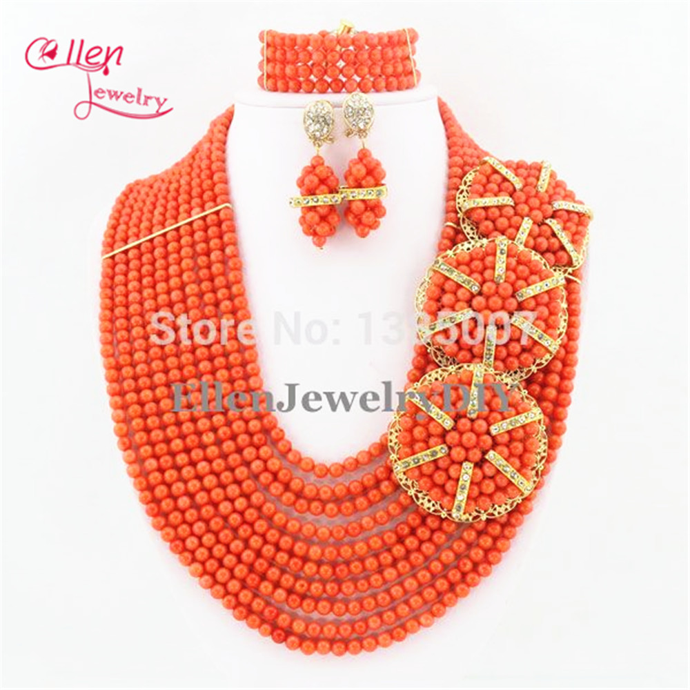 Nigérian africain mariage perles de corail ensemble de bijoux 10 rangées Orange corail ensemble de bijoux collier Bracelet boucles doreilles TL1210