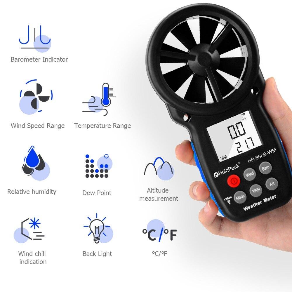 Anémomètre HoldPeak HP-866B-WM compteur de vitesse du vent capteur numérique tasse Anemometro 30 m/s LCD mesure à main outil humidité de l'air - 2