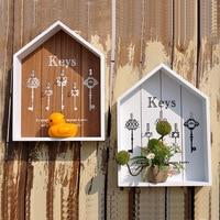 Storage Boxes Wall Hook Hanger Wood Storage Holder Flower Pots Key Holder Storage Box Wooden Sundries Hang Wood Boxes