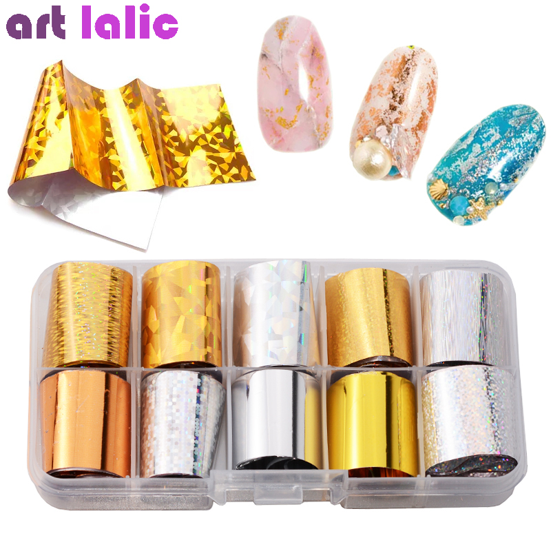 10 Sheets/box Nail Foils Starry Sky Gold Silver Dazzling Holographic Nail Art Transfer Sticker Laser DIY Manicure Decals Set