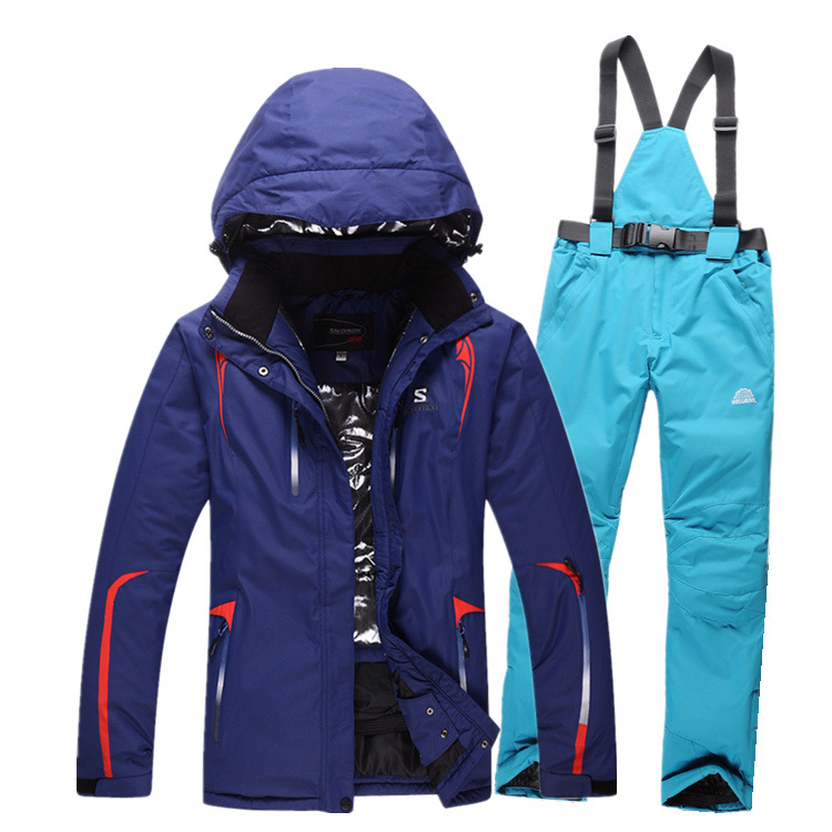 Sportswear winter Europe and the United States veneer Double board ski Windproof waterproof Keep warm Thicker Skiing Jackets Set europe and the united states long sleeve hooded keep out the cold winter to keep warm and comfortable cotton coat