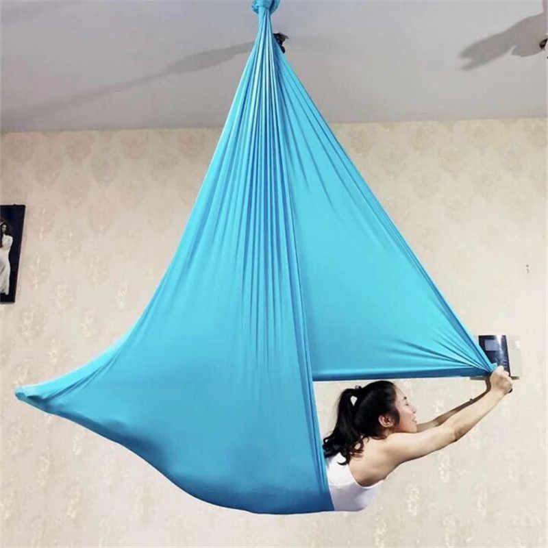 5 м длинные 2,8 м ширина ткани Летающий гамак для йоги Эластичный Йога-гамак Пилатес подвесная растягивающаяся устройство для йоги фитнеса 12 цветов