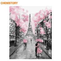 CHENISTORY sans cadre romantique Paris peinture à la main par numéros moderne mur Art toile peinture Unique cadeau pour la maison décors 40x50cm