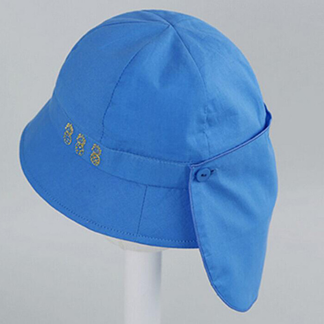 c610b03a791 Kids White Blue Sun Hat Summer Cotton Bucket Hat Toddler   Children Girls  Brim Beach Hat