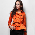 Khaki Orange Cotton Ruffles Short Trench Coat British High Quality Brand New 2016 Autumn and Spring Slim Women's Outerwear S-XL