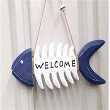 Mediterranean style pendant Wooden fish bone welcome card old craft creative home decoration Background wall hangings