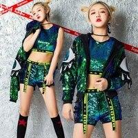 New Female Jazz Dance Costume Girls Hip Hop Cheerleading Dance Clothes Adult Modern Dance Street Dance Sequin Jacket DQL382