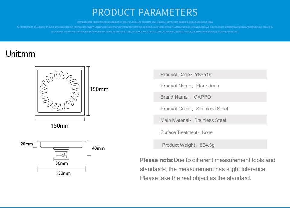 Gappo drenos aço inoxidável quadrado 15x15 cm
