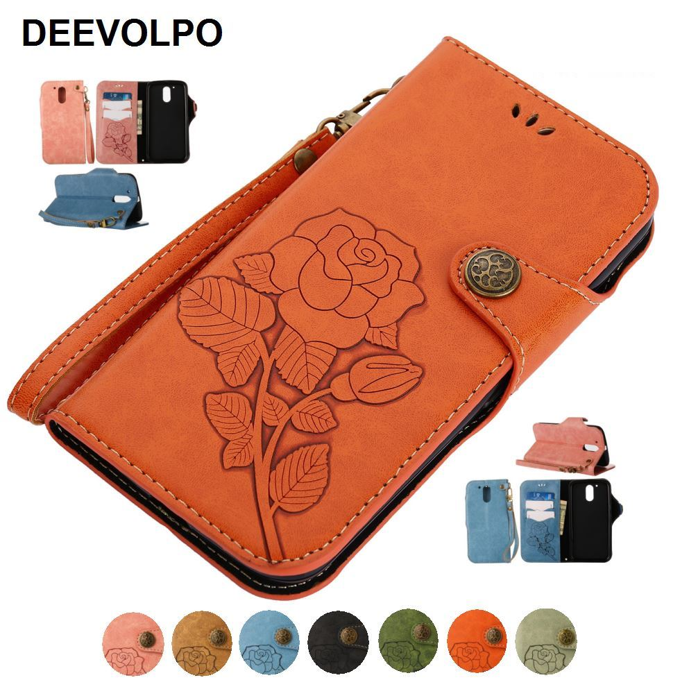 DEEVOLPO Luxury Leather Covers Rose Embossing Cases For Moto E4 Plus G4 G5 Plus Metal Button Retro Phone Bags Rivet Style D04Z
