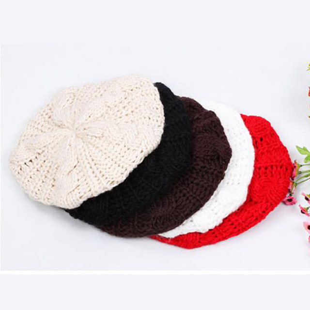 c79318a1771 Woolen Yarn knitted Berets Women Casual Beret Boina Simple Crochet Flat Cap  Fashion Street Style Ladies Outdoor Leisure Cap