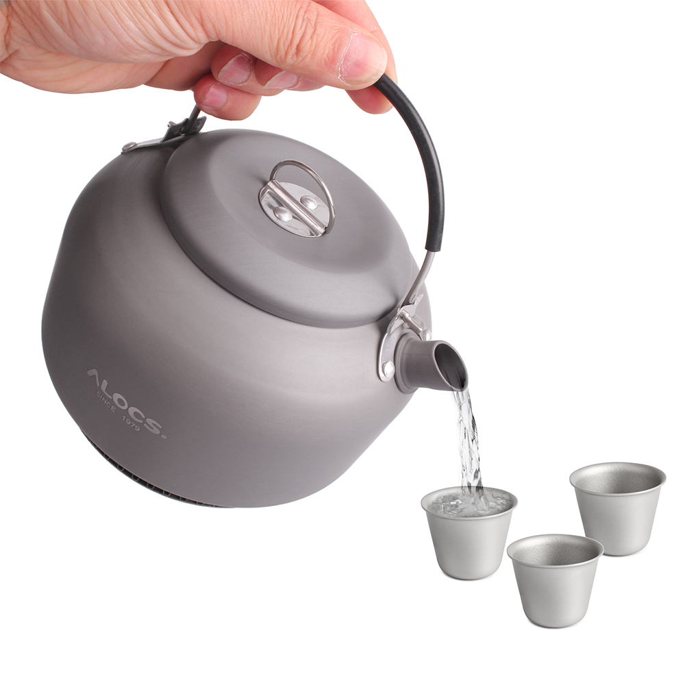 Image 2 - 1.4L Открытый походный титановый чайник, чайник для воды, открытый кофейник, портативная кухонная посуда с сетчатой сумкой и 3 титановыми чашками-in Столовые приборы для пикника from Спорт и развлечения on AliExpress - 11.11_Double 11_Singles' Day